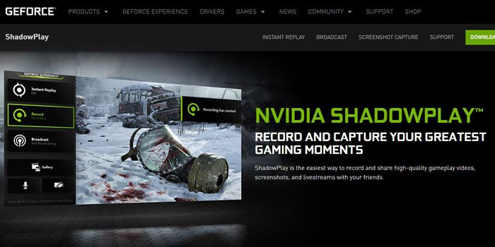 GeForce Shadowplay website