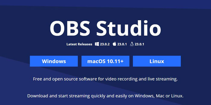 Streaming software OBS Studio's website
