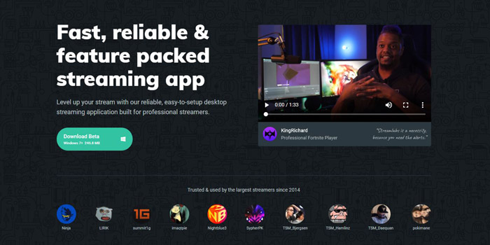 Best Twitch streaming software Streamlabs OBS's website