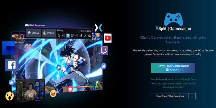 Xsplit Gamecaster website