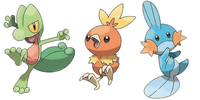 Treecko, Torchic, and Midkip from Pokemon Ruby, Sapphire, Emeralds, Omega Ruby and Alpha Sapphire