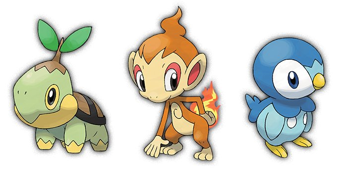 Turtwig, Chimchar, and Piplup from Pokemond Diamon and Pearl