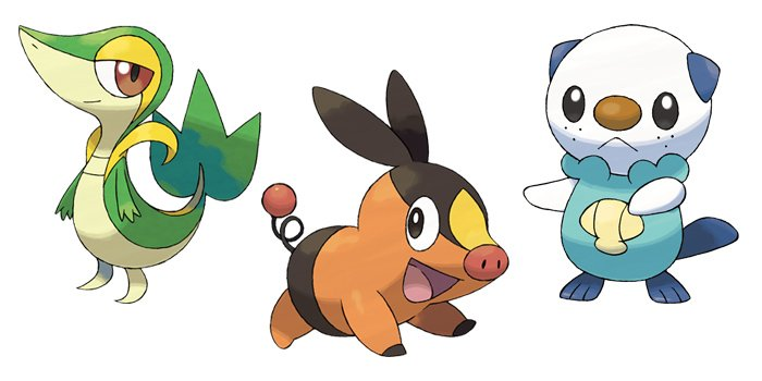 Snivy, Tepig, and Oshawott from Pokemon Black and White