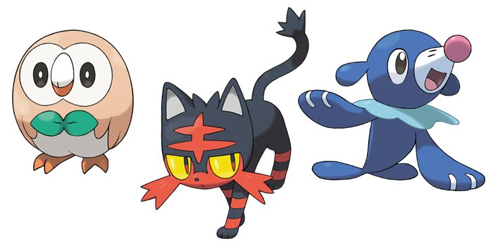Rowlet, Litten, and Popplio from Pokemon Sun and Moon