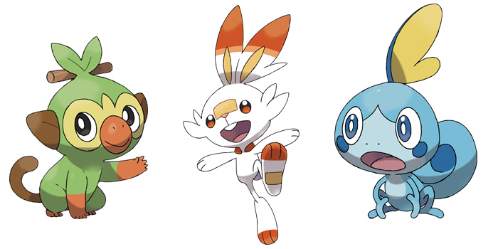 Grookey, Scorbunny, and Sobble from Pokemon Sword and Shield