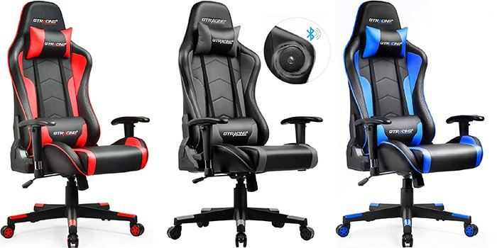 2nd best gamer chair - Gtracing with Bluetooth speakers